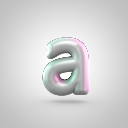 Glossy perl letter A uppercase. 3D render of bubble font with green with pink light reflections isolated on white background. Stock Photo