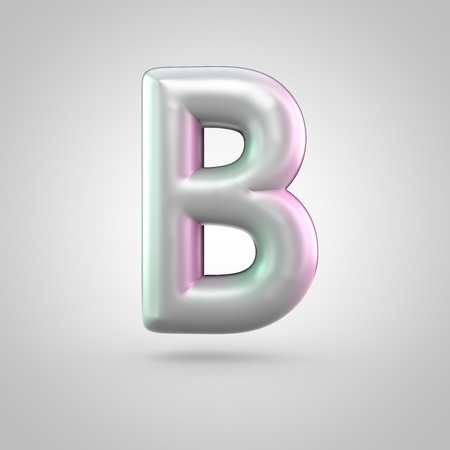 Glossy perl letter B uppercase. 3D render of bubble font with green with pink light reflections isolated on white background.