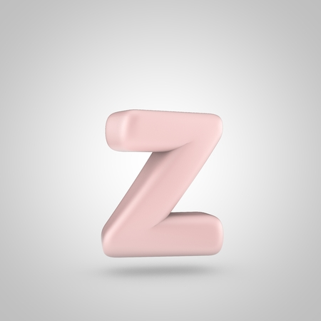 Millenium Pink color letter Z lowercase. 3D render of bubble rose quartz font isolated on white background. Stock Photo