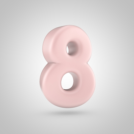 Millenium Pink color number 8. 3D render of bubble rose quartz font isolated on white background. Stock Photo