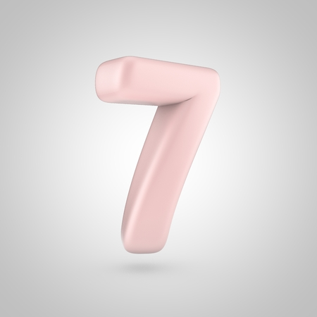 inflated: Millennium Pink color number 7. 3D render of bubble rose quartz font isolated on white background.
