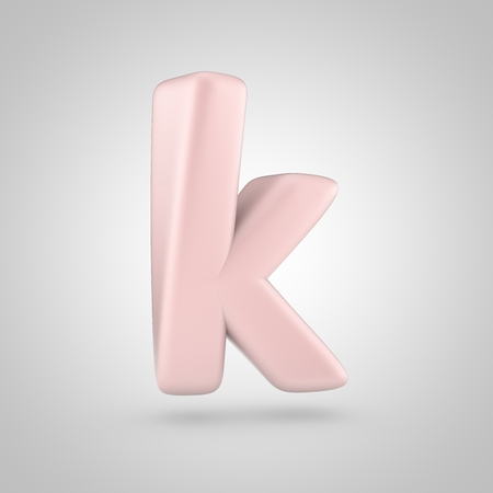 Millenium Pink color letter K lowercase. 3D render of bubble rose quartz font isolated on white background.