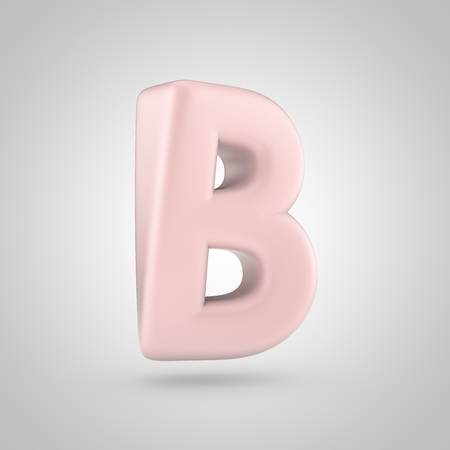 Millennium Pink color letter B uppercase. 3D render of bubble rose quartz font isolated on white background.