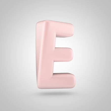 Millennium Pink color letter E uppercase. 3D render of bubble rose quartz font isolated on white background.