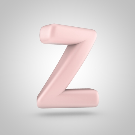 Millennium Pink color letter Z uppercase. 3D render of bubble rose quartz font isolated on white background.