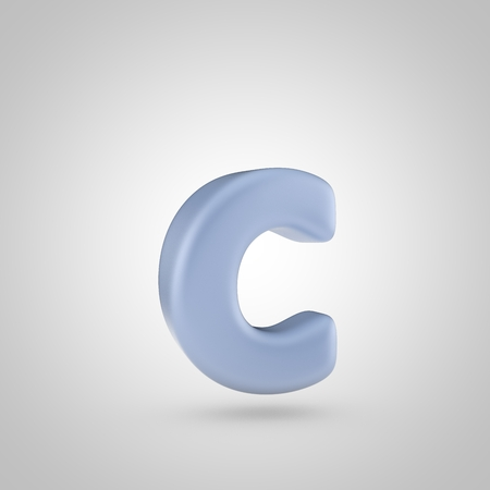 Serenity color letter C lowercase. 3D render of bubble blue font isolated on white background. Stock Photo
