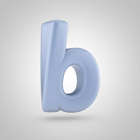 inflated: Serenity color letter B lowercase. 3D render of bubble blue font isolated on white background. Stock Photo