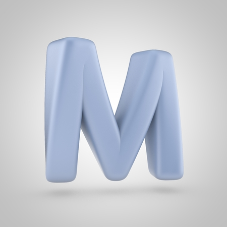 serenity color letter m uppercase 3d render of bubble blue font isolated on white background