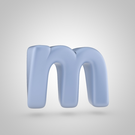 inflated: Serenity color letter M lowercase. 3D render of bubble blue font isolated on white background.
