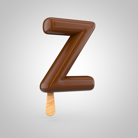 Icecream letter Z uppercase. 3D render of chocolate icecream font with wooden stick isolated on white background. Stock Photo