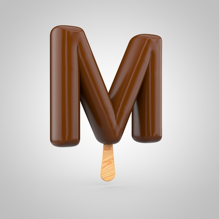 Ice cream letter M uppercase. 3D render of chocolate icecream font with wooden stick isolated on white background.