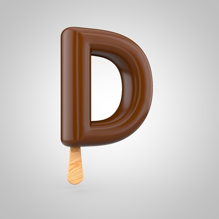 inflated: Ice cream letter D uppercase. 3D render of chocolate icecream font with wooden stick isolated on white background.
