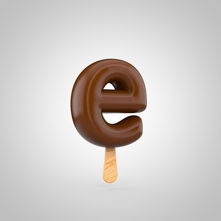 Ice cream letter E lowercase. 3D render of chocolate icecream font with wooden stick isolated on white background. Stock Photo