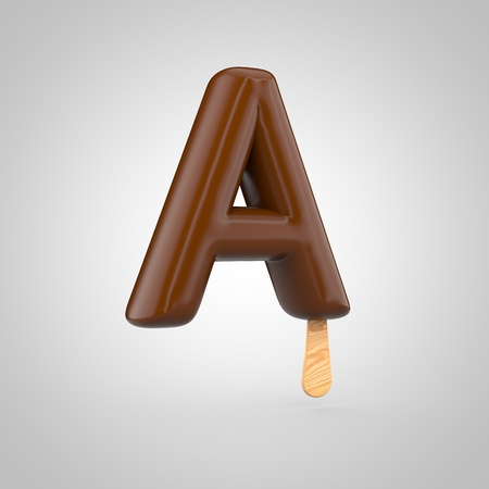Ice cream letter A uppercase. 3D render of chocolate ice cream font with wooden stick isolated on white background.