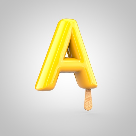 inflated: Ice cream letter A uppercase. 3D render of fruit juice ice cream font with wooden stick isolated on white background.