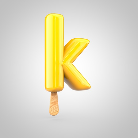 inflated: Ice cream letter K lowercase. 3D render of fruit juice ice cream font with wooden stick isolated on white background.