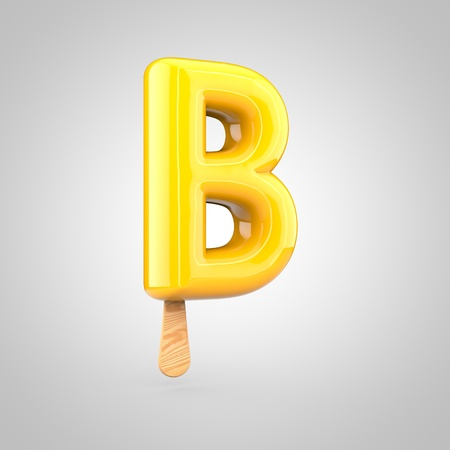 Ice cream letter B uppercase. 3D render of fruit juice ice cream font with wooden stick isolated on white background.