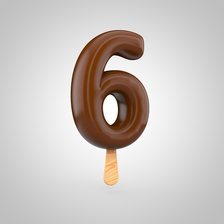 inflated: Ice cream number 6. 3D render of chocolate ice cream font with wooden stick isolated on white background.
