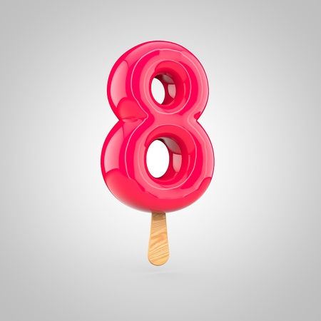 Ice cream number 8. 3D render of fruit juice ice cream font with wooden stick isolated on white background.