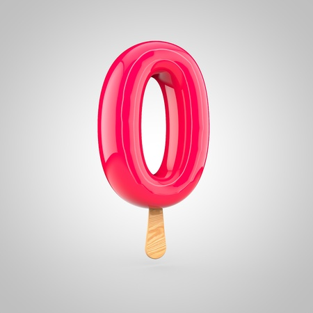 Ice cream number 0. 3D render of fruit juice ice cream font with wooden stick isolated on white background. Stock Photo