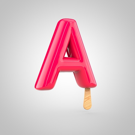 Ice cream letter A uppercase. 3D render of fruit juice ice cream font with wooden stick isolated on white background.
