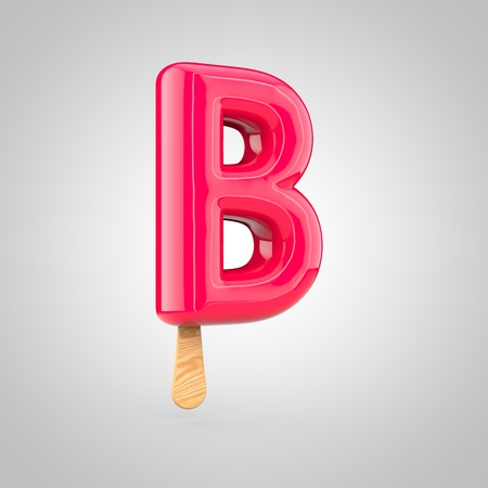 inflated: Ice cream letter B uppercase. 3D render of fruit juice ice cream font with wooden stick isolated on white background.