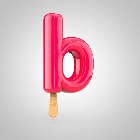 Ice cream letter B lowercase. 3D render of fruit juice ice cream font with wooden stick isolated on white background. Stock Photo