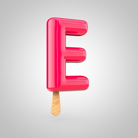 inflated: Ice cream letter E uppercase. 3D render of fruit juice ice cream font with wooden stick isolated on white background. Stock Photo