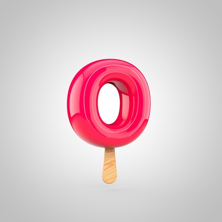 Ice cream letter O lowercase. 3D render of fruit juice ice cream font with wooden stick isolated on white background.