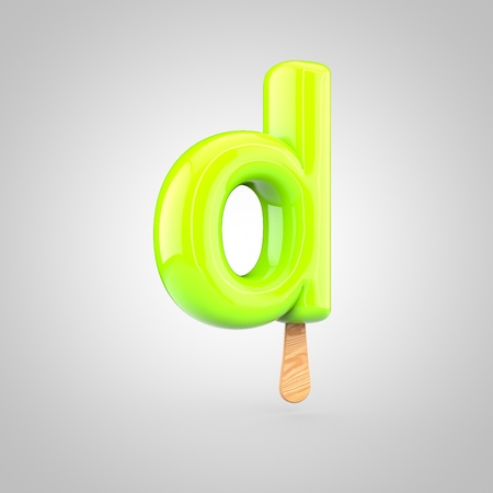 Ice cream letter D lowercase. 3D render of fruit juice ice cream font with wooden stick isolated on white background.