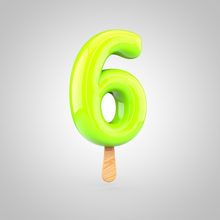 Ice cream number 6. 3D render of fruit juice ice cream font with wooden stick isolated on white background. Stock Photo