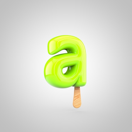 Ice cream letter A lowercase. 3D render of fruit juice ice cream font with wooden stick isolated on white background.