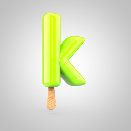 Ice cream letter K lowercase. 3D render of fruit juice ice cream font with wooden stick isolated on white background.