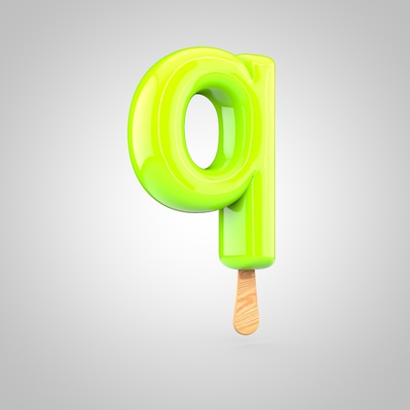 Ice cream letter Q lowercase. 3D render of fruit juice ice cream font with wooden stick isolated on white background.
