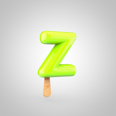 Ice cream letter Z lowercase. 3D render of fruit juice ice cream font with wooden stick isolated on white background.
