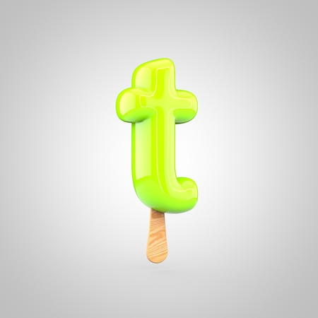 Ice cream letter T lowercase. 3D render of fruit juice ice cream font with wooden stick isolated on white background.