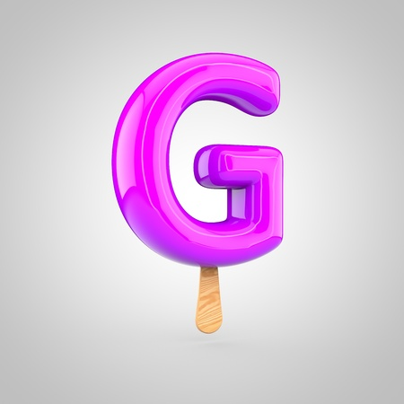 Ice cream letter G uppercase. 3D render of fruit juice ice cream font with wooden stick isolated on white background. Stock Photo