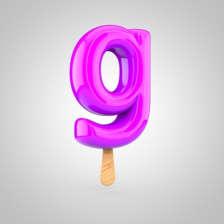 inflated: Ice cream letter G lowercase. 3D render of fruit juice ice cream font with wooden stick isolated on white background.