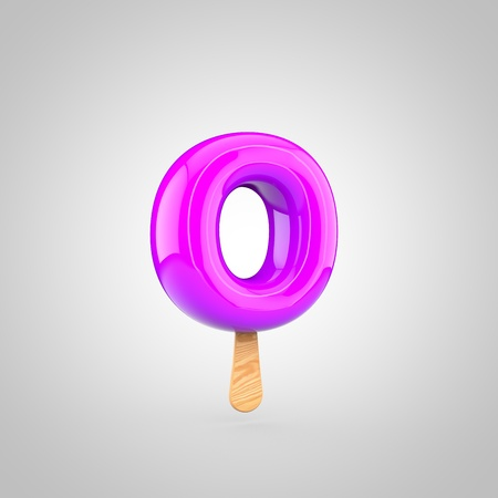 inflated: Ice cream letter O lowercase. 3D render of fruit juice ice cream font with wooden stick isolated on white background.
