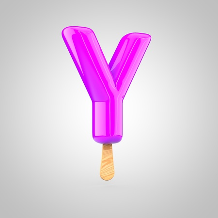 Ice cream letter Y uppercase. 3D render of fruit juice ice cream font with wooden stick isolated on white background.