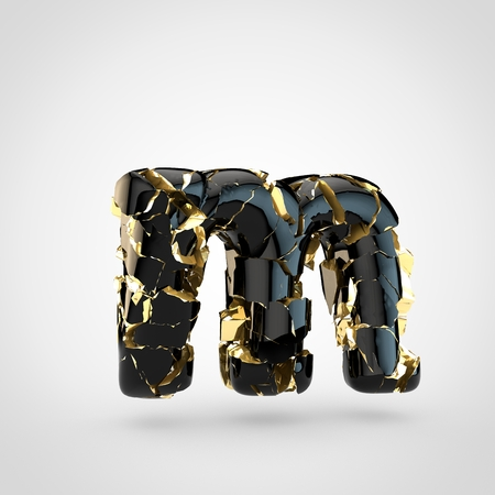 Cracked letter M lowercase. 3D render cracked black font with golden texture inside isolated on white background.