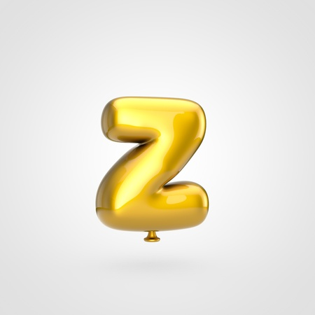 Balloon letter Z lowercase. 3D render of glossy golden inflated font with glint isolated on white background.