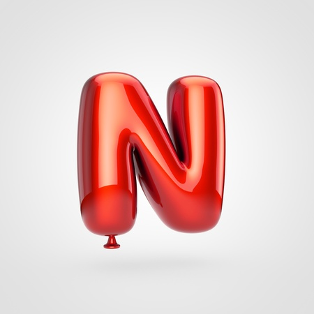 Balloon letter N uppercase. 3D render of glossy red inflated font with glint isolated on white background.