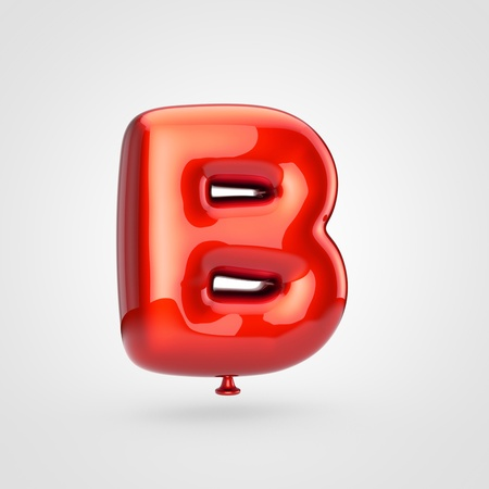 Balloon letter B uppercase. 3D render of glossy red inflated font with glint isolated on white background.