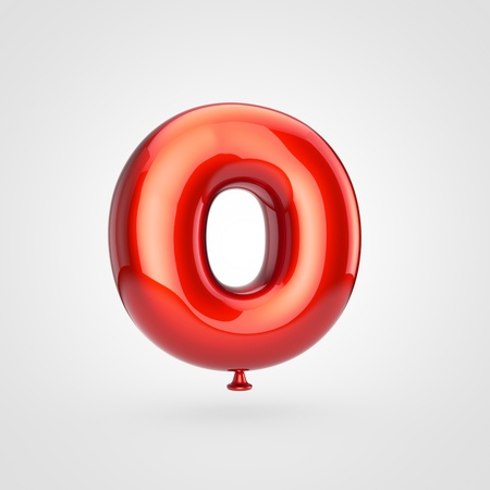 Balloon letter O uppercase. 3D render of glossy red inflated font with glint isolated on white background.