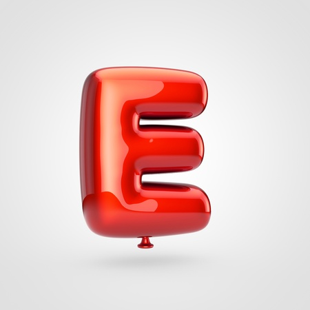 Balloon letter E uppercase. 3D render of glossy red inflated font with glint isolated on white background.