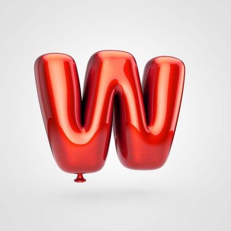 Balloon letter W uppercase. 3D render of glossy red inflated font with glint isolated on white background.