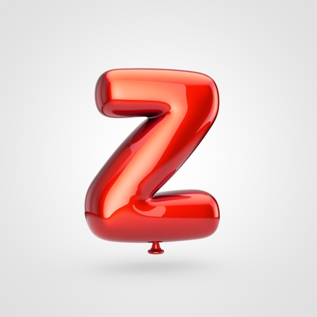 Balloon letter Z uppercase. 3D render of glossy red inflated font with glint isolated on white background. Stock Photo