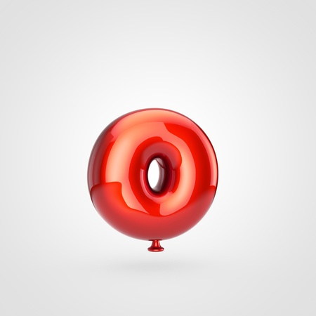 Balloon letter O lowercase. 3D render of glossy red inflated font with glint isolated on white background.
