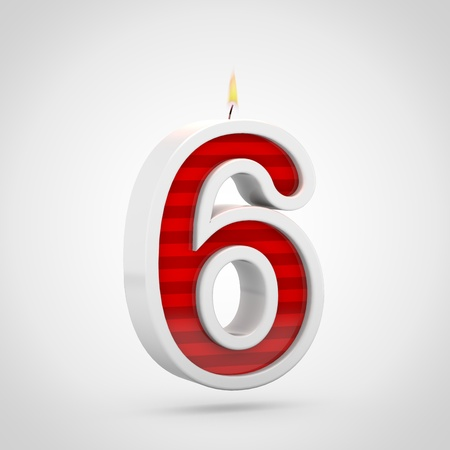 Birthday candle number 6. 3D render of red cake candle font with wick and flame isolated on white background. Stock Photo